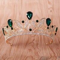 Hot Selling Vintage Green Crystal Tiara Women Wedding Headpiece Bridal Diadem Gold Crown Bride Hair Accessories