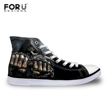 FORUDESIGNS Men Lace UP Flats Vulcanized Shoes for Teen Boys 2018 Cool Skull Print Casual High Top Canvas
