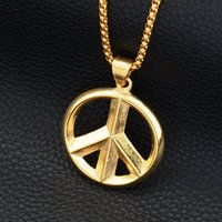 Hiphop Goofan Classic Sign Of Peace Pendant Superior Quality Necklace Stainless Steel Fashion Jewelry For Men