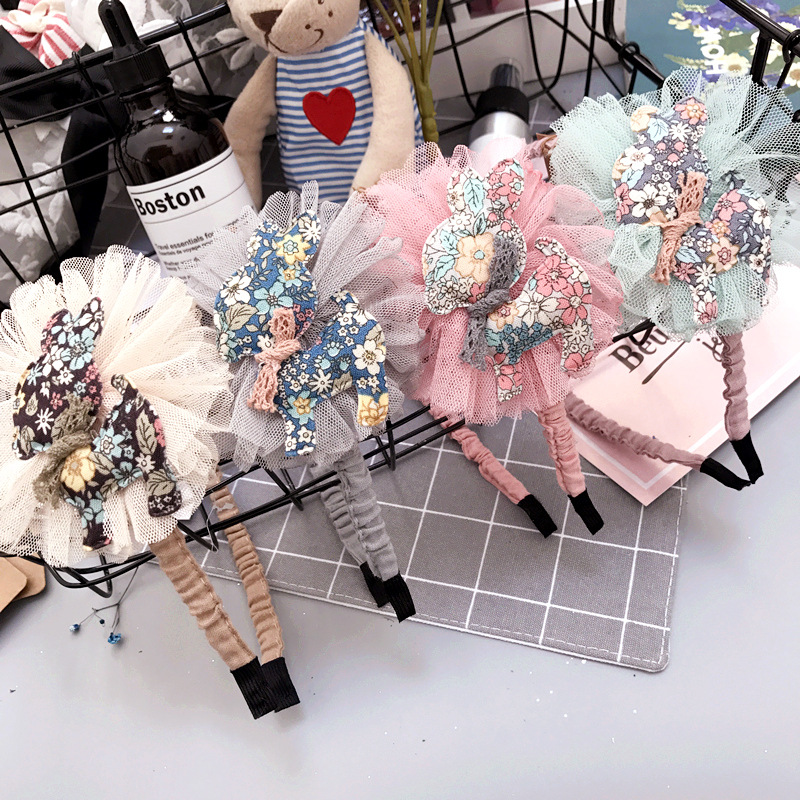 Korea Lace  Flower Crown Deer Hair Band auze Hair Accessories lovely Embroidery Headband for Girls  Hair Bow Princess 4