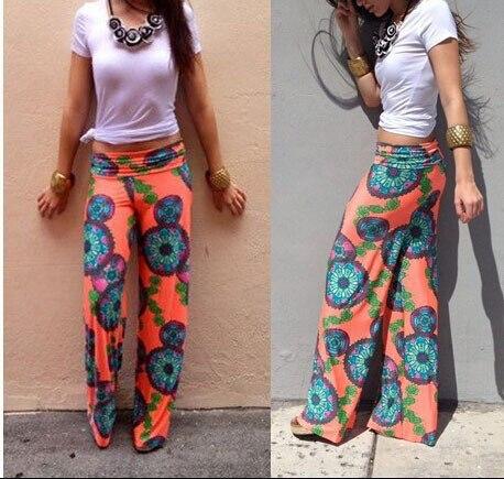557eb5336 Aq125 verano mujeres Pantalones casual Mediados de cintura Flare largo  Pantalones impreso casual rayas Pantalones Palazzo Pantalones en Pantalones  y Capris ...