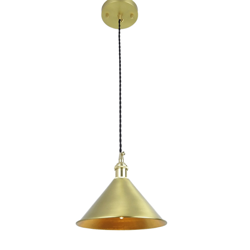D200mm Brass cone shade quality E14 pendant light edison LED vintage copper shade lighting fixture brass pendant lamp for home e27 brass socket with copper lampshade fabric wire pendant lamp fixture quality brass lighting with led bulb for home decoration