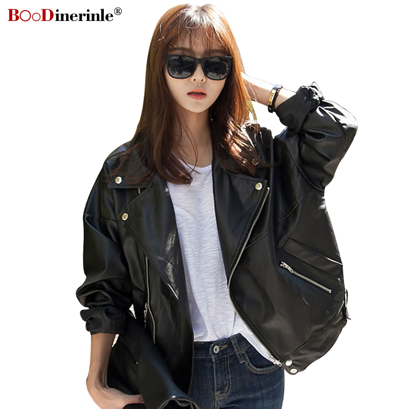 Autumn Women's PU   Leather   Jackets Handsome Loose Thin BF Style Short Motorcycle Jackets Female Lapel Batwing-sleeve Coat F015