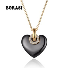 New Fashion Jewelry Black And White Heart Ceramic Crystal Pendant Necklaces With Women #8217 s Stainless Steel Necklace amp Pendants cheap Classic Link Chain Female Necklace 22 MM BORASI Anniversary Party Punk Engagement Wedding Women Necklace Best of gifts