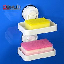 Dehub  suction cup soap holder plastic dish for bathroom accessories tray in white