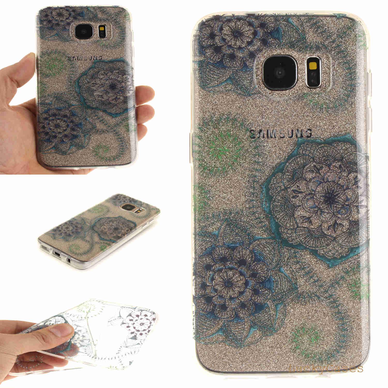 For Samsung S7 Edge Case Cartoon Penguin Flower Transparent Soft TPU Back Cover For Samsung S7 Edge Phone Cases