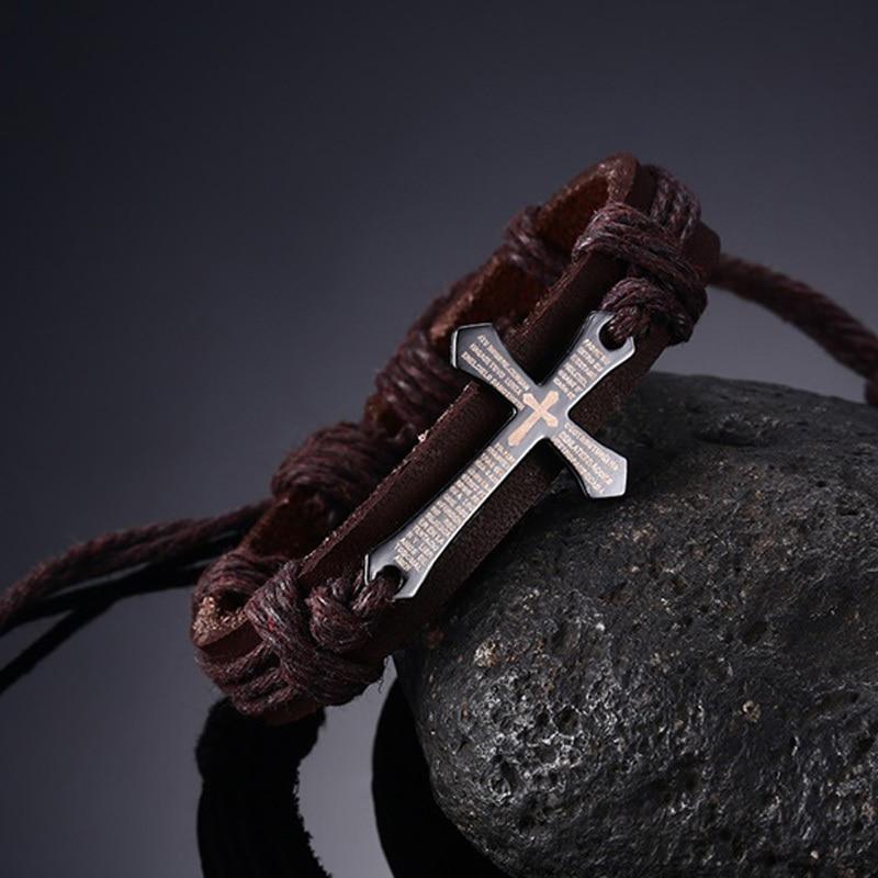 Mens Leather Lords Prayer Cross Adjustable Bracelet for Men Drawstring Braslet Brackelts Brazalet Male Vintage Jewels Brown