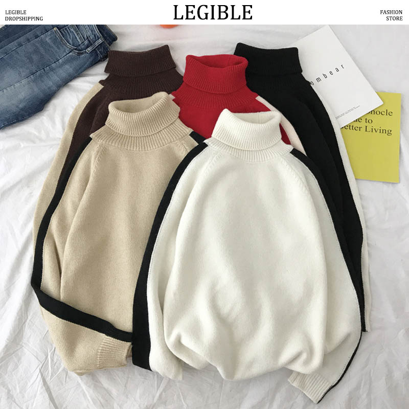LEGIBLE 2019 New Autumn Hip Hop Sweater Men Casual Patchwork Mens Sweaters Turtleneck Knitting Pullovers Coat Men 3XL
