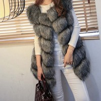 Women's Fur Coat Faux Fur Vest Female Jacket Winter 2018 New Fashion Warm Causual Fur Gilet Winter Woman Coat Plus Size
