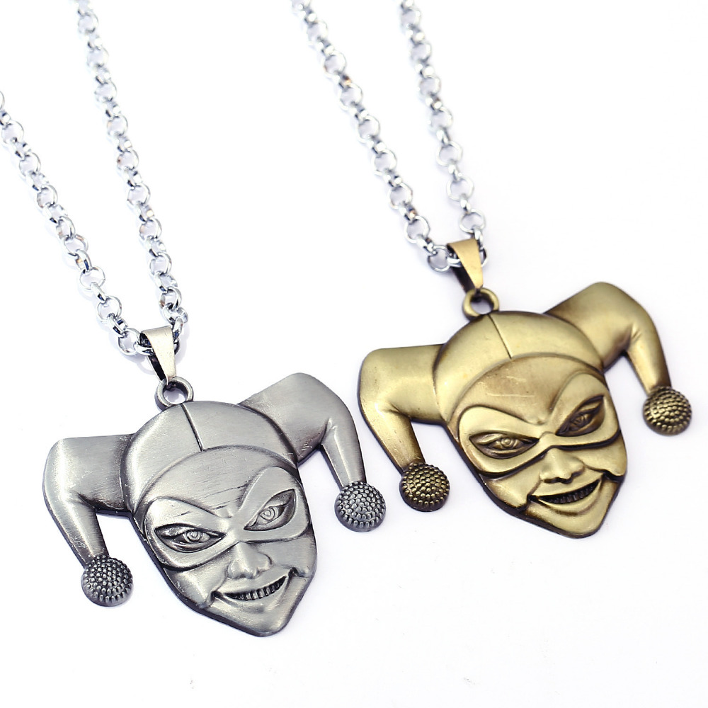Movie Series Suicide Squad Necklace Metal Pendant Harry Quinn Necklace Two Colour Model Toy Figures For boys Girls Gift
