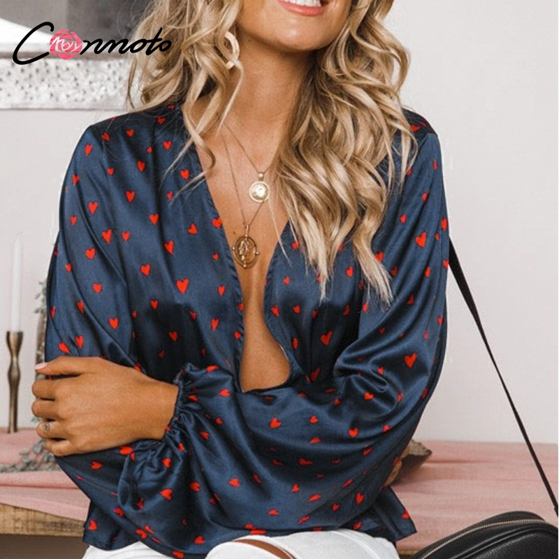 Conmoto Retro Short Blouse Shirt Women Sexy Deep V Neck Lantern Sleeve Ruffles Blouses Casual Shirt Top Heart Print Mujer Blusa