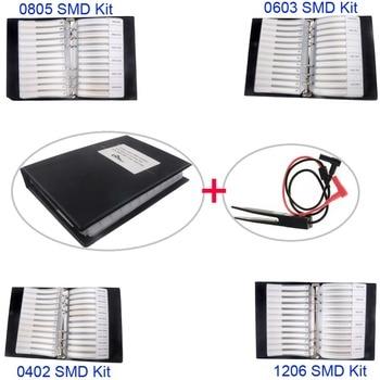 0805 0603 0402 1206 SMD Capacitor Resistor Assortment Combo Kit Sample Book + LCR Clip Tweezer 0805 240k 5 1m smd resistor white 420 pcs