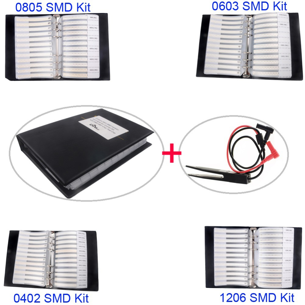 0805 0603 0402 1206 SMD Capacitor Resistor Assortment Combo Kit Sample Book + LCR Clip Tweezer image