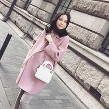 2017 Women Thicken Pink Double Breasted Palto Chinese Maxi Woolen Down Coat Autumn Long Jacket Manteau Femme Korea Cloak Winter