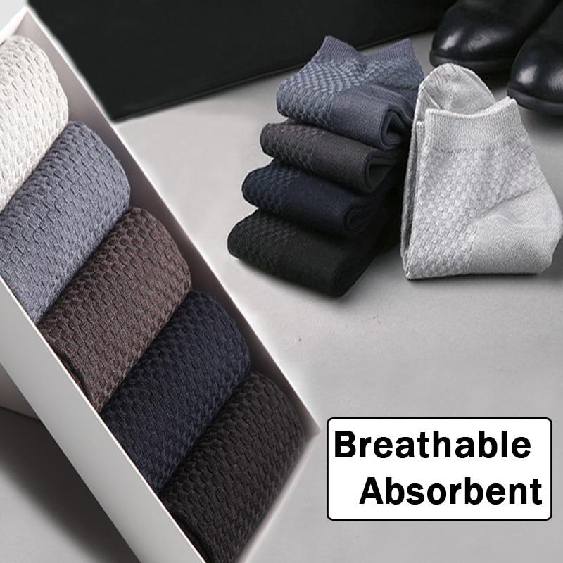 Sale Men Bamboo Fiber Socks Casual Business Anti-Bacterial Deodorant Breatheable Man Long Sock