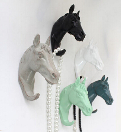 After the texture of wood decorative wall hooks copper wall art creative door Continental dimensional ornaments Horsehead