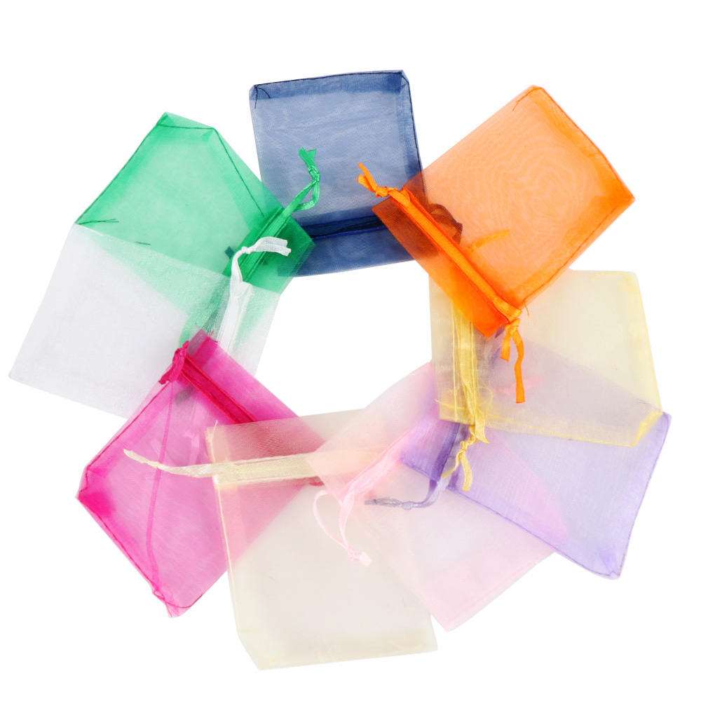 Image 2 - 50pcs/set Organza Bags Wedding Party Decoration Gift Bags Small Jewelry Packaging Gifts Tulle Fabric Organza Sheer Bag Candy Bag-in Gift Bags & Wrapping Supplies from Home & Garden
