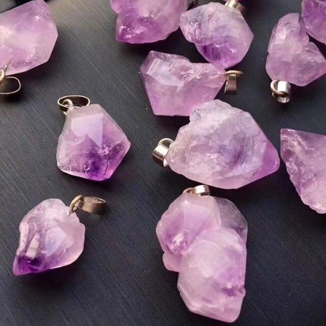 24pcs/lot Natural Stone Amethysts Chakra Reiki Point Pendants Randomly Shaped Beads Pendants For Jewelry Making Free Shipping