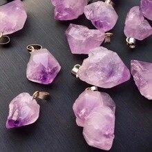 Lote de 24 unidades de colgantes de piedra amatista Natural de punto de Chakra Reiki, colgantes de cuentas con forma aleatoria para fabricación de joyas, Envío Gratis