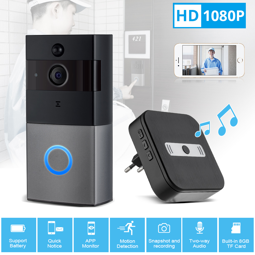 FUERS Wireless WiFi HD 1080P Video Doorbell Home Security PIR Motion Detection Remote Intercom 6 LED