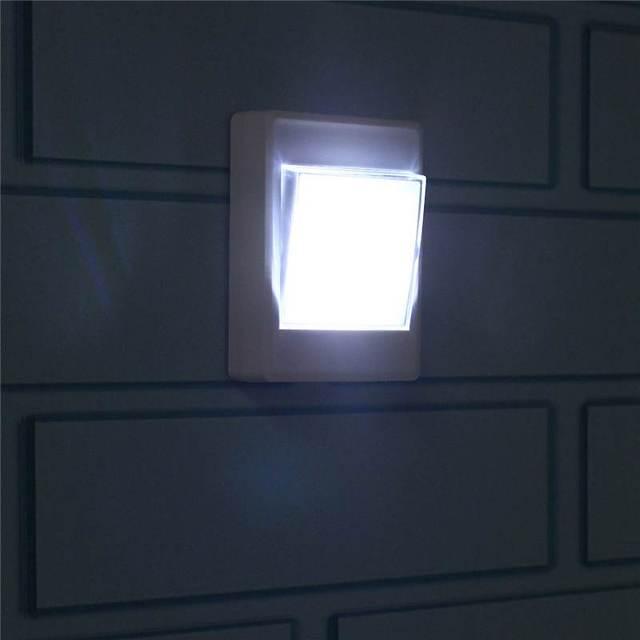 Battery Operated Wireless Bedside Wardrobe Lights COB LED Wall Lamp Switch  Closet Under Cabinet Night Light