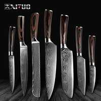 """XITUO High quality 8""""inch Utility Chef Knives laser Damascus steel Santoku kitchen Knives Sharp Cleaver Slicing Gift Knife"""