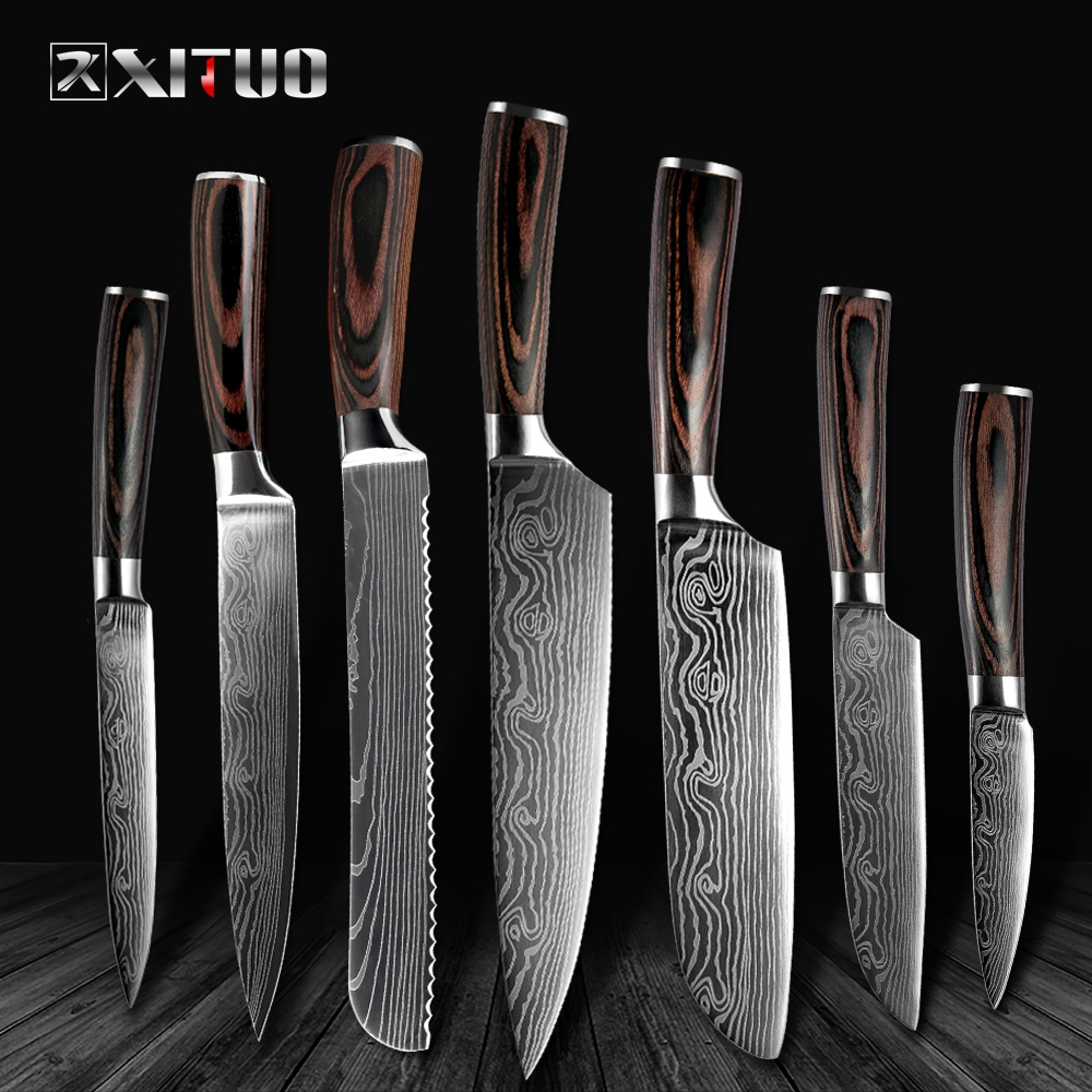XITUO High quality 8inch Utility Chef Knives laser Damascus steel Santoku kitchen Knives Sharp Cleaver Slicing Gift Knife