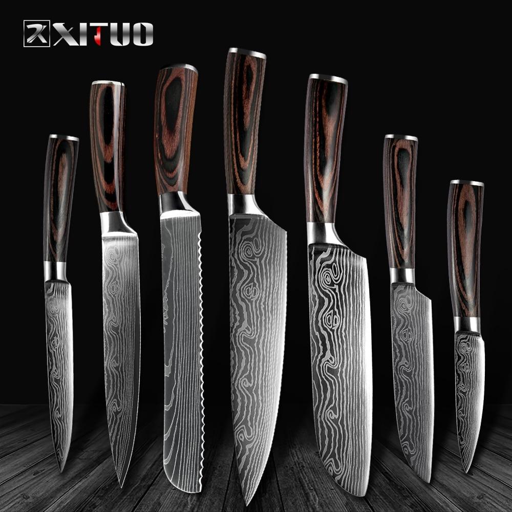 XITUO haute qualité 8 pouces utilitaire Chef couteaux laser damas acier Santoku couteaux de cuisine tranchant couperet tranchage cadeau couteau