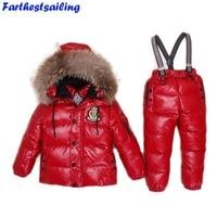 -30 מעלות רוסיה חורף סקי סרבל בגדי ילדי חליפת ספורט בנים בנות ילדים ללבוש מעילי שלג מעילי מכנסיים סינר עמיד למים
