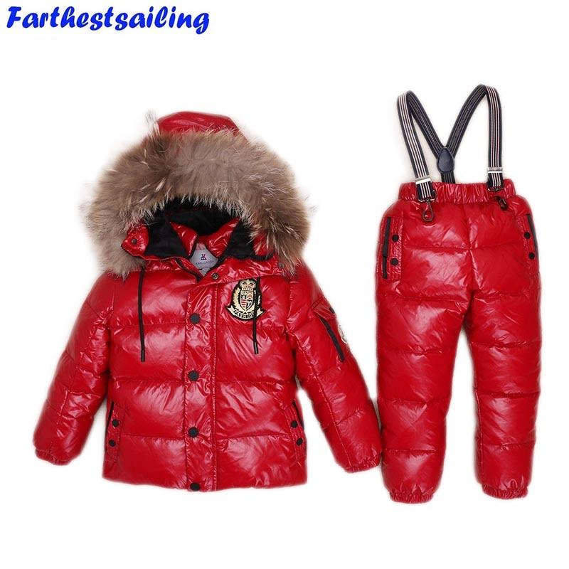 -30Degrees Russia Winter Ski Jumpsuit Children Clothing Boys Girls Sport Suit Kids Snow Wear Jackets coats Bib pants Waterproof