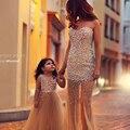 2015 Recién Llegado de Perlas Madre y Niño de Dos Piezas de Baile Vestidos Largos TM11231 Famliy