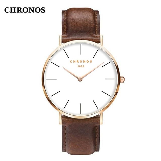 CHRONOS 1898 Men Watches Luxury Casual Quartz Wristwatch Leather Strap Simple Wa