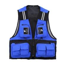 Outdoor Sport Men's Fishing Vest Multi Pocket V-neck Fishing Jacket Waterproof Breathable Director Photojournalist Clothes