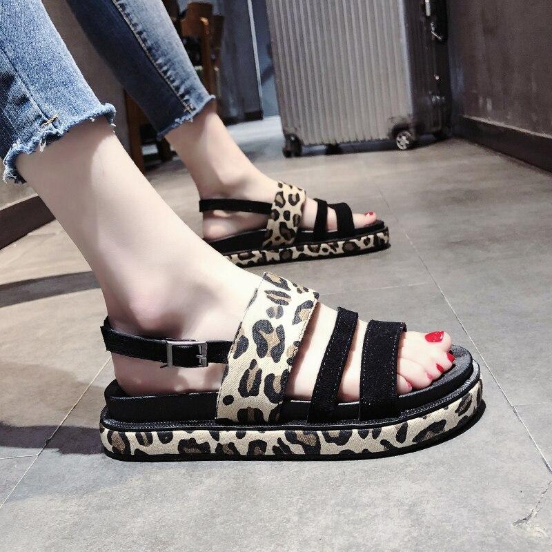 2019 Fashion Hot Selling Leopard open toe Buckle Casual women sandals Summer walking footwears middle heels sandalias mujer 13