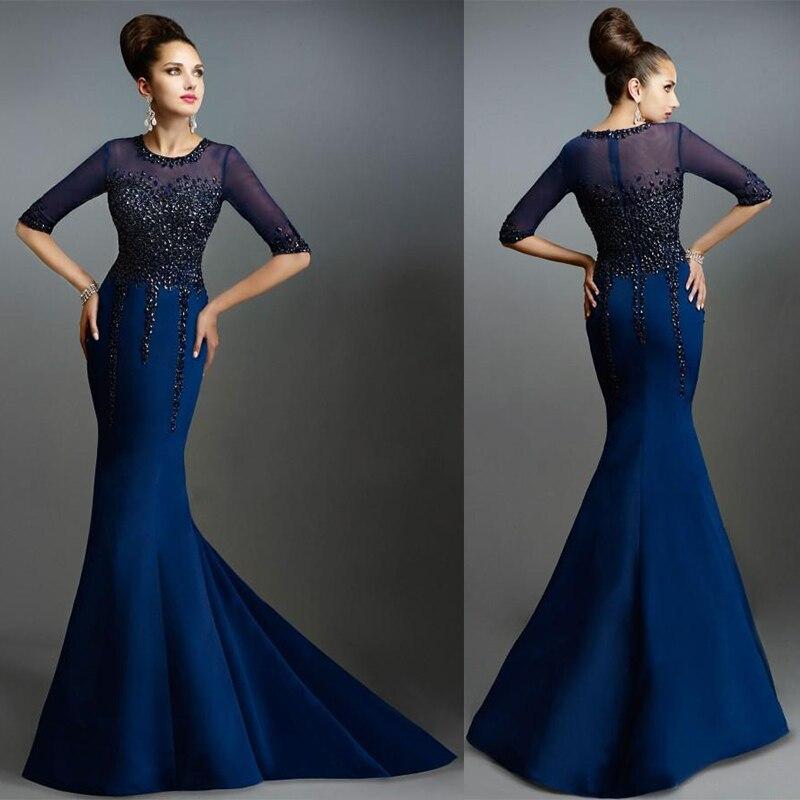 Evening Dress Navy Blue Long Lace Mermaid Half Sleeves