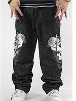 The New 2014 New Men Fashion Hip Hop Dance Skeleton Embroidery Loose Slacks Jeans