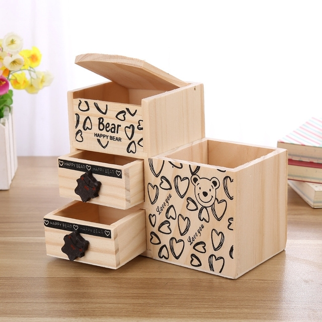 Bear Wooden Pen Holder Kawaii Desk Tidy Organizer Pencil Cute Anime Cartoon Desktop Pot