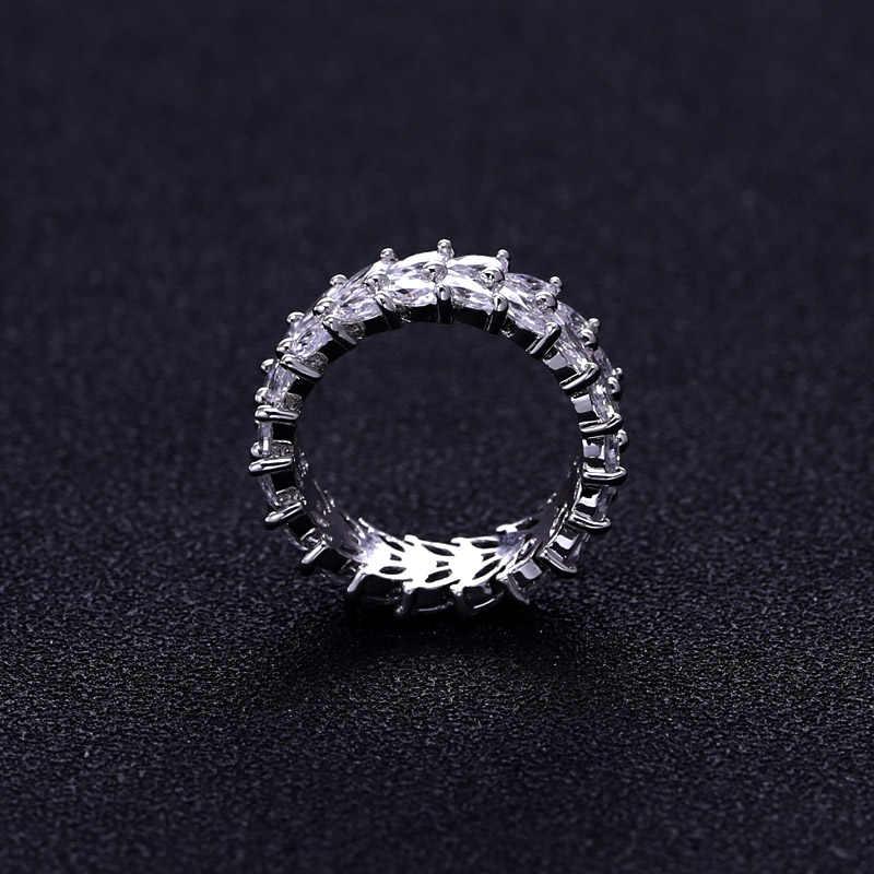 Trendy frauen Schmuck Hand Made zirkonia Olivenzweig Ring für Frauen und Männer weiße gold-farbe Mode ringe
