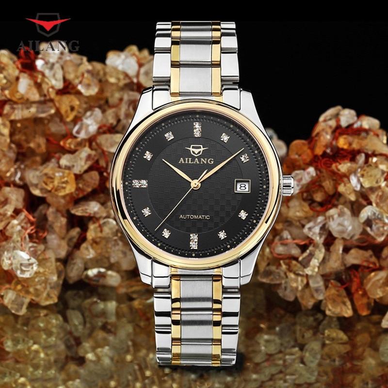 AILANG Brand Business Wristwatches Men Rhinestone Luxurious Stainless Steel Mechanical Wristwatch Men's Waterproof Watches A007