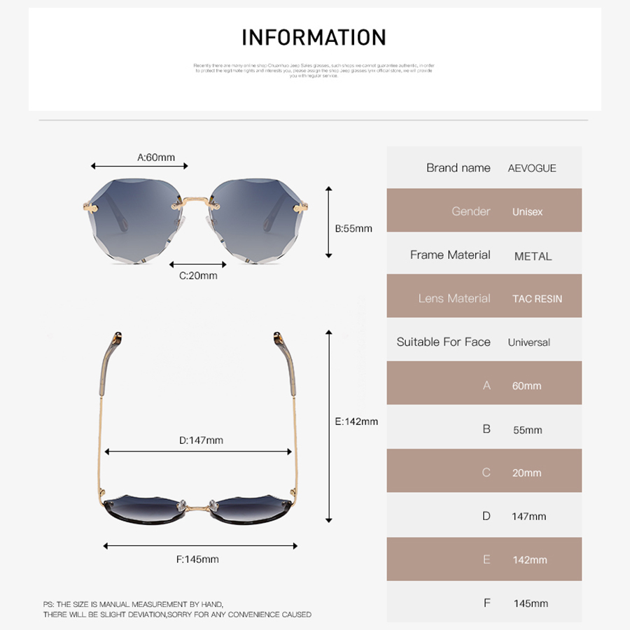 AEVOGUE Sunglasses For Women ladies Rimless Diamond cutting Lens Brand Designer Ocean Shades Vintage Sun Glasses AE0637 4