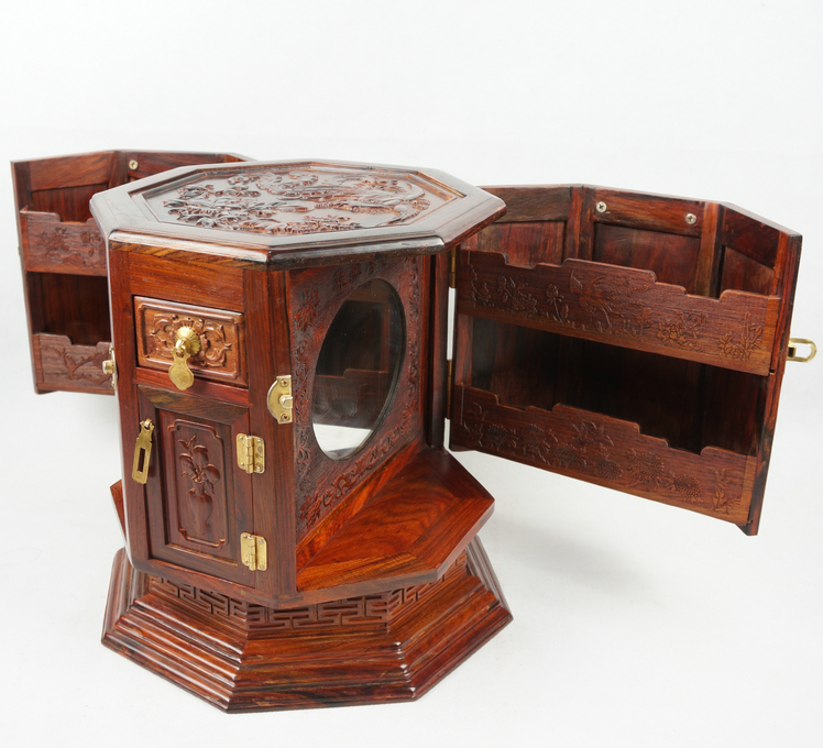 Laos rosewood rotating carved mirror cabinet jewelry box fancy dress