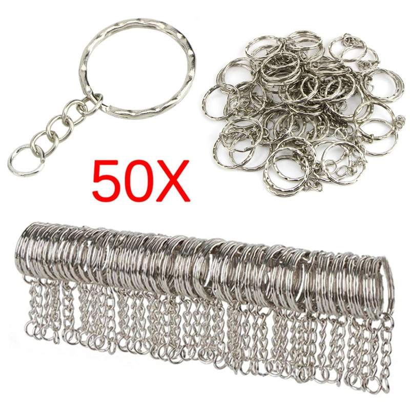 50pcs 25mm Polished Silver Color Keyring Keychain Split Ring With Short Chain Key Rings Women Men DIY Key Chains Accessories