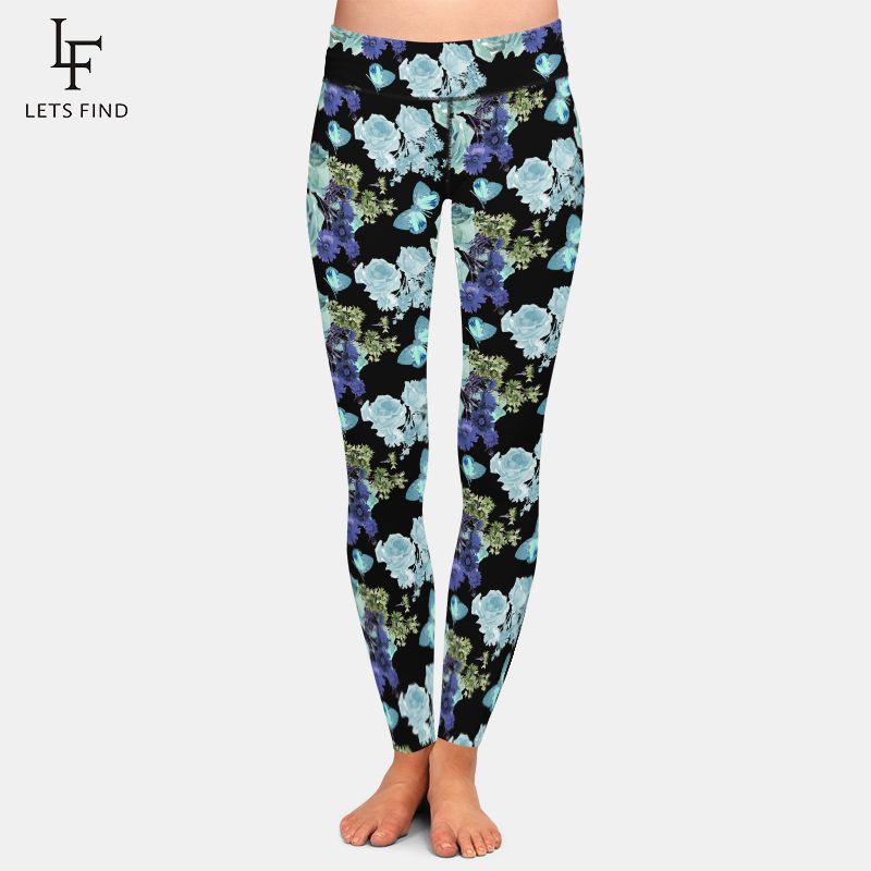 LETSFIND Leggings Women High Waist Flowers And Butterfly Print Pants New Black Slim Fitness Plus Size Leggings