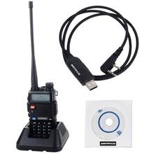NKTECH USB Programming Cable & 1 Pack BAOFENG UV-5R Dual Band VHF UHF 136-174/400-520MHz Two Way Radio Walkie Talkie Black