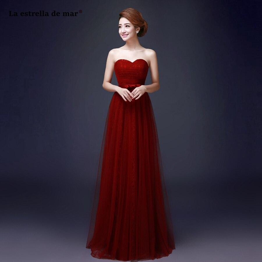 La estrella de mar vestido madrinha 2019 Lace Strapless Backless a Line burgundy Royal blue turquoise   bridesmaid     dresses   long
