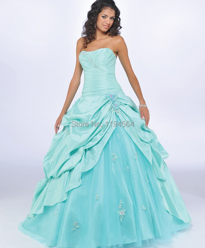 993450d52ca Simple Teal Quinceanera Dresses Appliques Taffeta ans Organza 2015 New  Fromal Party Dresses for 15 Years Ball Gown BQ82