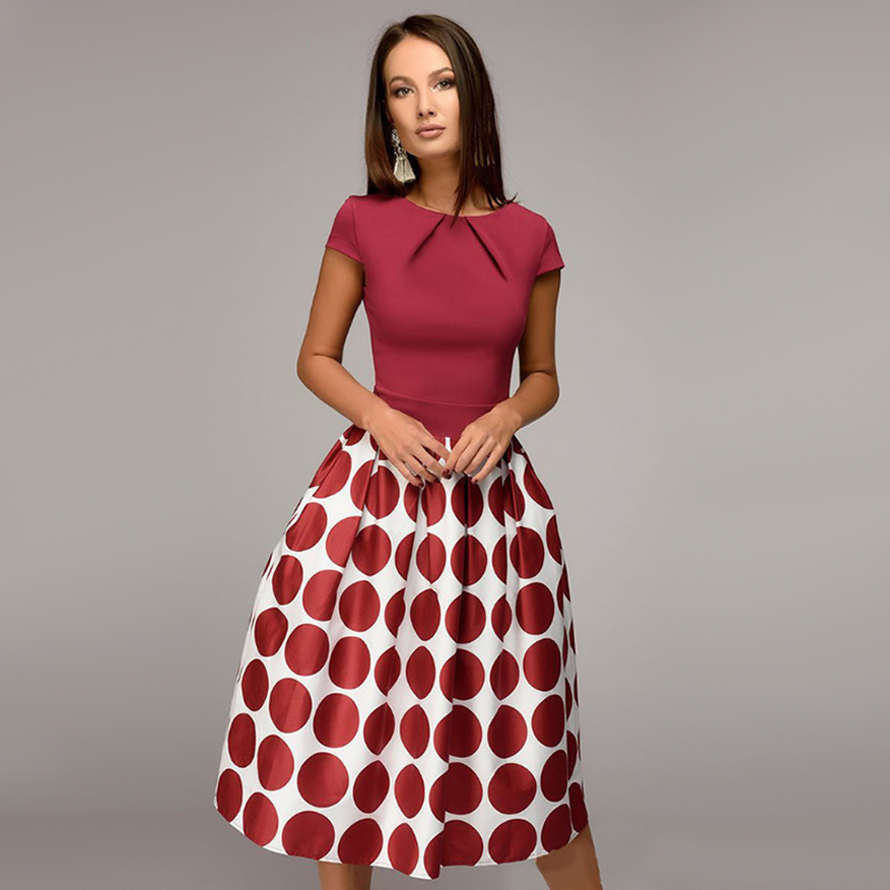 924363768c294 Vintage Dot Print Summer Casual Dress Women Fit and Flare Party ...