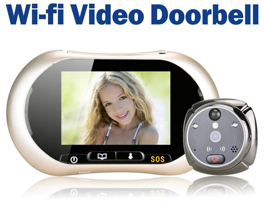 3.7 ЖК дисплей Сенсорный экран передней двери глазок Камера Wi Fi Дверные звонки Беспроводной видео телефон двери intertom ihome3