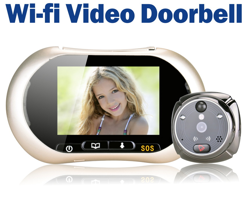 3 7 lcd touch screen front door peephole camera wifi for Front door video camera
