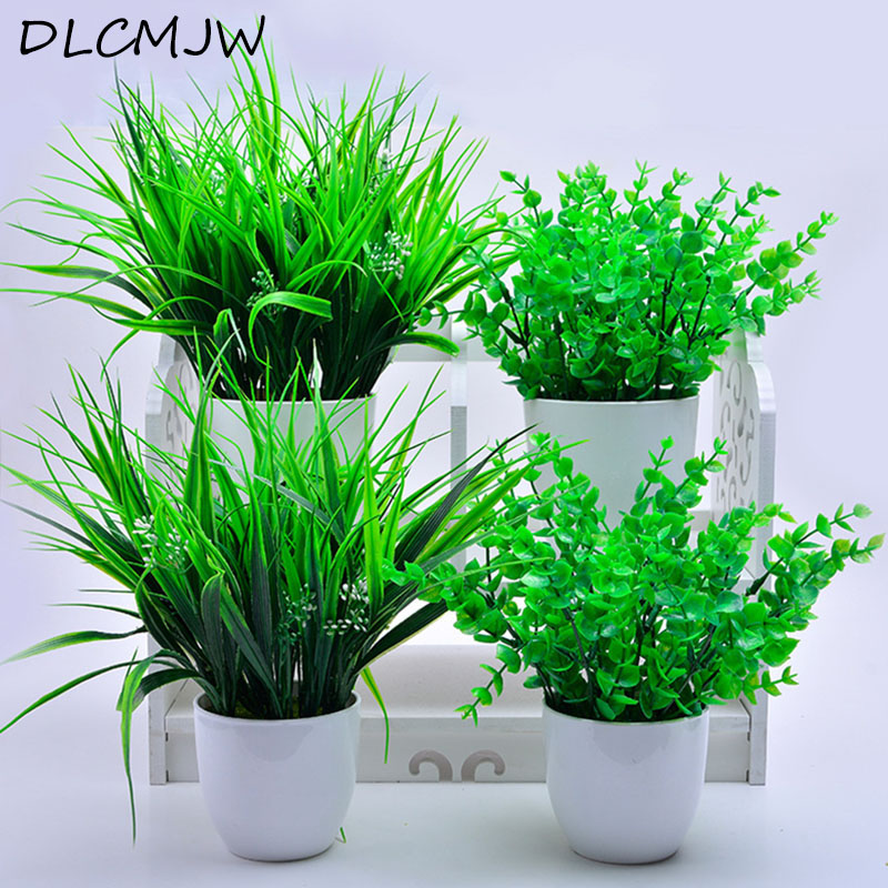 Artificial Plants Potted Plastic Green Plants Leave Bonsai For Wedding Party Decoration Green Plant Flower Fake Artificial Grass